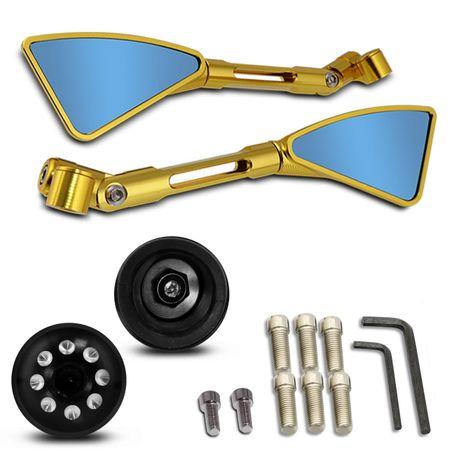 Retrovisor-Moto-Esportivo-Triangular-Tipo-Rizoma-Aluminio-Inteiro-Dourado---Manopla-com-Peso-Preta-connectparts---1-