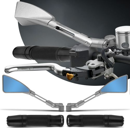Retrovisor-Moto-Esportivo-Triangular-Tipo-Rizoma-Aluminio-Inteiro-Prata---Manopla-com-Peso-Preta-connectparts---1-