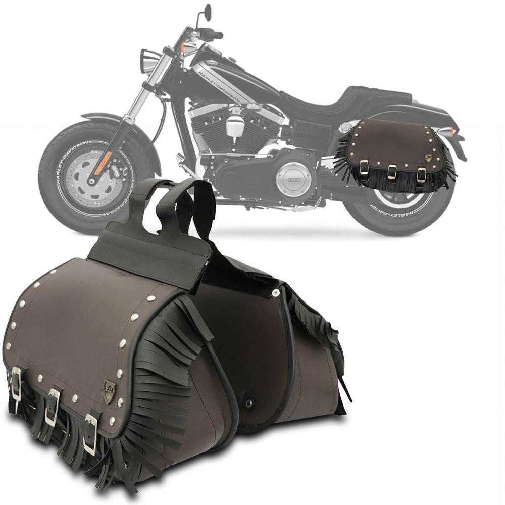 d12b3b3fb Par Bolsa alforge Lateral 32 Litros Custom Moto Universal Couro Ecológico  Marrom Cravos Franjas