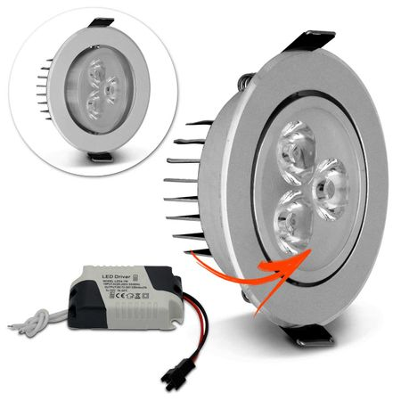Kit-10-Spot-Super-LED-3W-Redonda-Direcionavel-Dicroica-6500K-Branca-Bivolt-Aluminio-Prata-Embutir-connectparts---2-