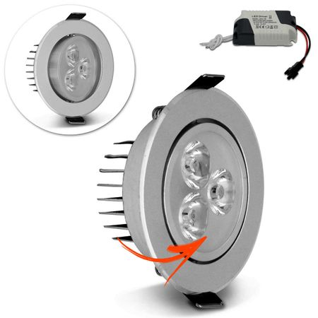 Kit-5-Spot-Super-LED-3W-Redonda-Direcionavel-Dicroica-6500K-Branca-Bivolt-Aluminio-Prata-Embutir-CONNECTPARTS---2-