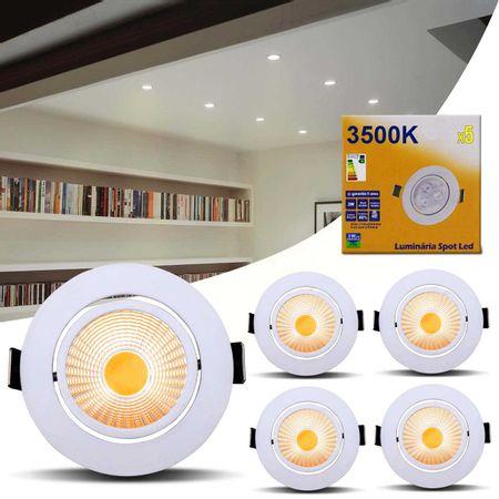Kit-5-Spot-Super-LED-COB-5W-Redonda-Direcionavel-Dicroica-3500K-Amarelado-Bivolt-Aluminio-Teto-CONNECTPARTS---1-