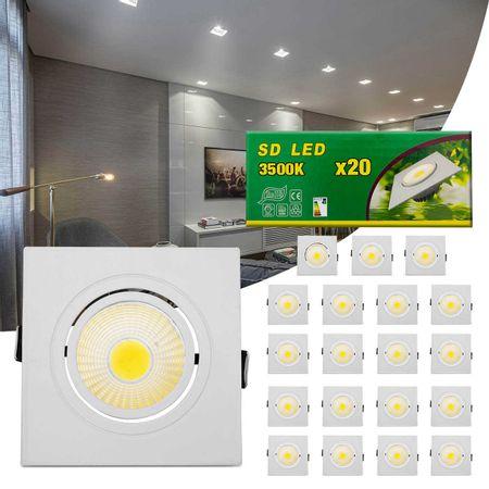 Kit-20-Spot-Super-LED-COB-7W-Quadrada-Direcionavel-Dicroica-3500K-Amarela-Bivolt-Aluminio-Embutir-connectparts---1-