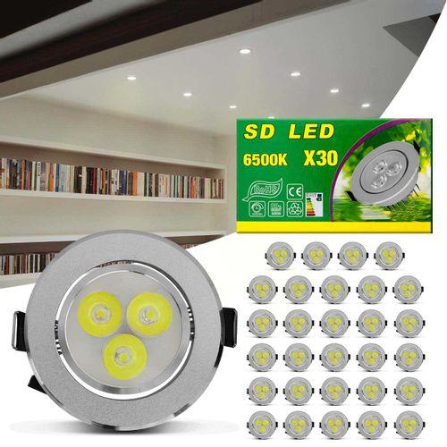 Kit-30-Spot-Super-LED-3W-Redonda-Direcionavel-Dicroica-6500K-Branca-Bivolt-Aluminio-Prata-Embutir-connectparts---1-