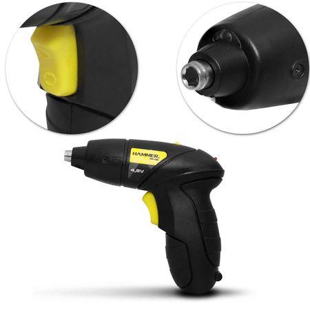 Parafusadeira-Mandril-Hammer-Bivolt-Sem-Fio-14-65mm-200-RPM---Maleta-44-Pecas-Preto-Amarelo-PF48K-connectparts---3-