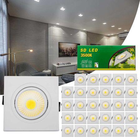 Kit-30-Spot-Super-LED-COB-7W-Quadrada-Direcionavel-Dicroica-3500K-Amarela-Bivolt-Aluminio-Embutir-connectparts---1-