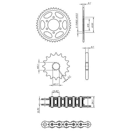 Kit-Relacao-Transmissao-Suzuki-GSF1200-Bandit-1995-A-2005-Temperada-Preta-S00209X-Xtreme-CONNECTPARTS---3-