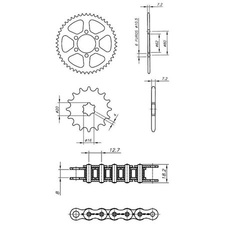 Kit-Relacao-Transmissao-Yamaha-DT180-1992-A-1992-Y00070X-Xtreme-connectparts---3-