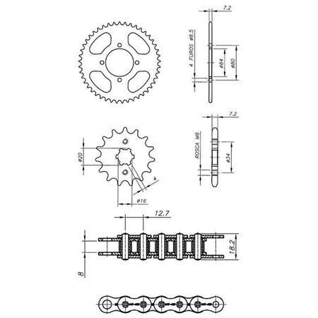 Kit-Relacao-Transmissao-Yamaha-YBR125-2003-A-2008-Y04549X-Xtreme-connectparts---3-