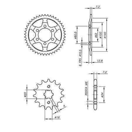 Kit-Coroa-Pinhao-Yamaha-TDM225-1997-A-2000-YCP0009T-Vaz-connectparts---3-