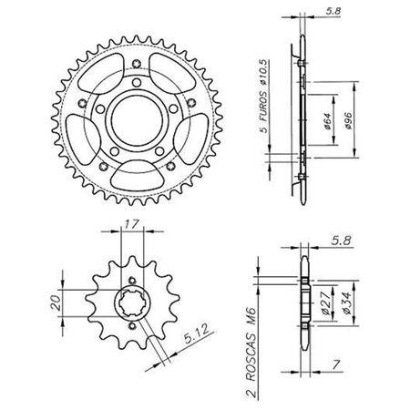Kit-Coroa-Pinhao-Honda-XR200-1995-A-2003-HCP0066T-Vaz-connectparts---3-