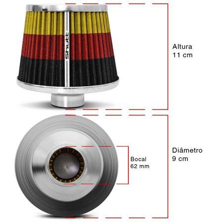Filtro-de-Ar-Esportivo-Tunning-DuploFluxo-Monster-62mm-Conico-Lavavel-Especial-Shutt-Base-Cromada-connectparts---3-