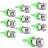 Kit-10-Lampadas-LED-T10-W5W-Pingo-5-LEDs-4W-12V-Luz-Verde-Aplicacao-Farol-Meia-Luz-connectparts---1-