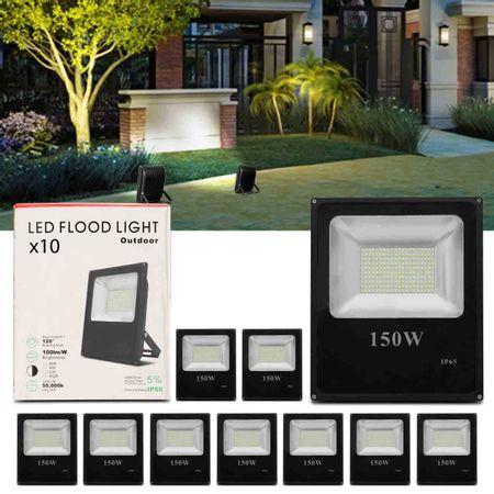 Kit-10-Refletor-Led-Holofote-Slim-150W-Bivolt-IP65-6000K-Branco-Frio-Resistente-Agua-Fachada-Jardim-connectparts---1-