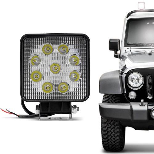 Farol-de-Milha-Quadrado-Universal-9-LEDs-6000K-27W-Branco-Carro-Caminhao-Jeep-connectparts---1-