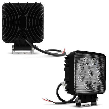Farol-de-Milha-Quadrado-Universal-9-LEDs-6000K-27W-Branco-Carro-Caminhao-Jeep-connectparts---2-