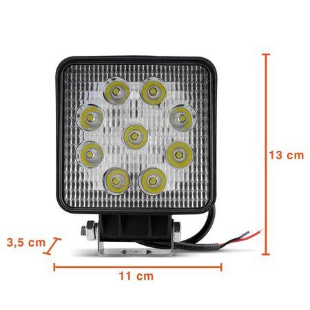 Farol-de-Milha-Quadrado-Universal-9-LEDs-6000K-27W-Branco-Carro-Caminhao-Jeep-connectparts---3-