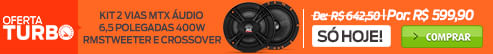 oferta-turbo Kit 2 Vias MTX Áudio 6,5 Polegadas 400W RMS Tweeter e Crossover 4 Ohms